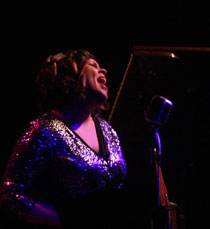 Jazz singer Clara Cecilia at Foxes cabaret in Bath with Gavin Lazarus